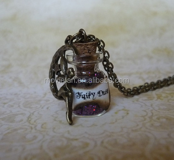 Purple Fairy Dust Necklace Purple Pixie Dust Fantasy Jewelry Fairy Charm Glass Bottle Pendant