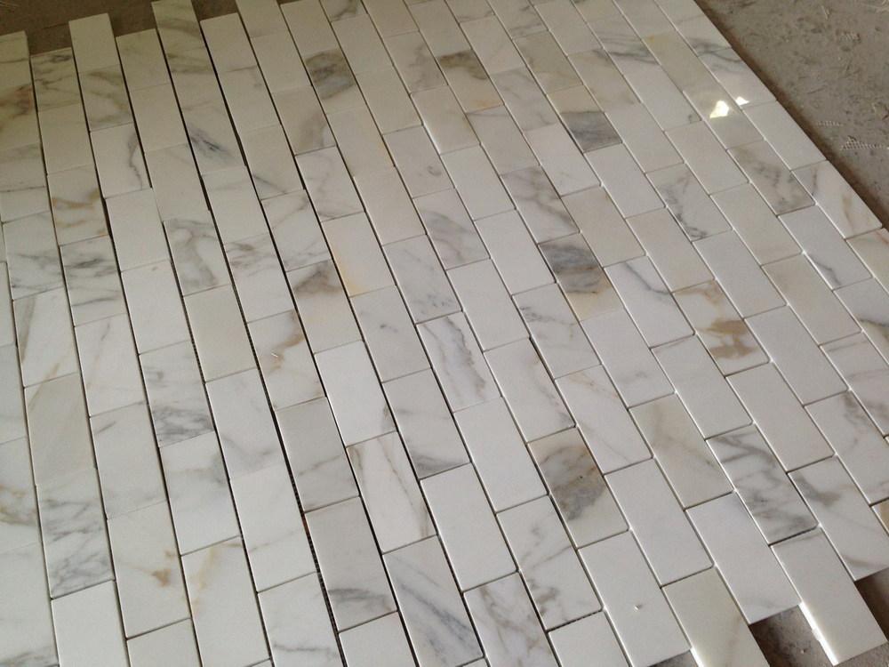 Calacatta Gold Marble Subway Brick Mosaic Tile 2x4
