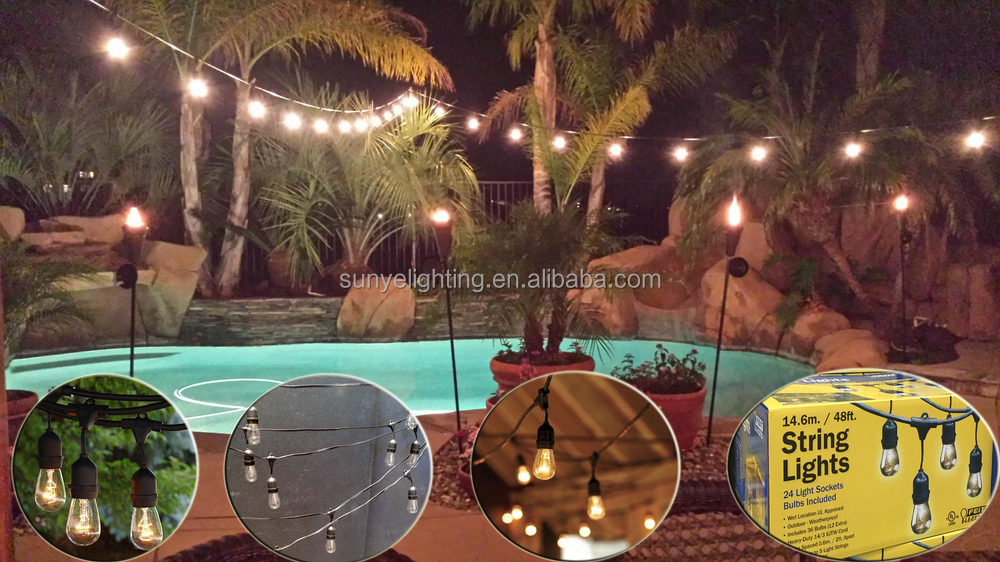 Edison Outdoor String Lights 375 foot s14 outdoor patio globe string lights set of 25 clear s14 375 foot s14 outdoor patio globe string lights set of 25 clear s14 edison bulbs workwithnaturefo