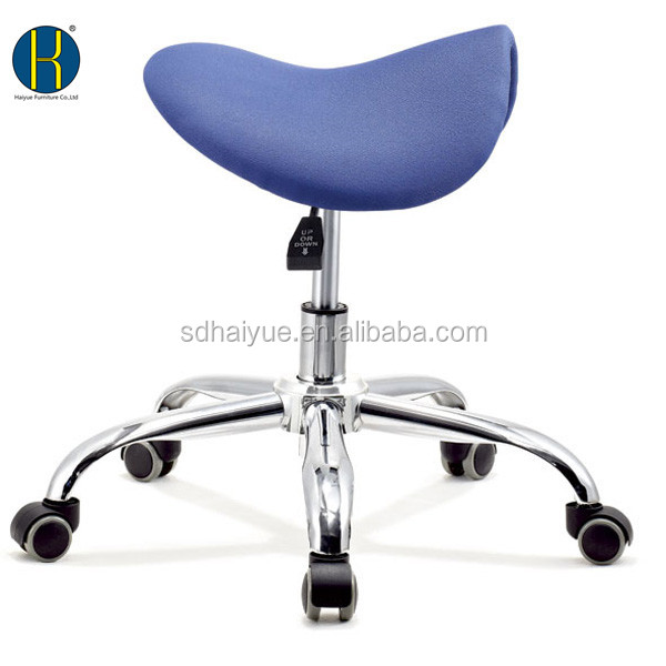 high quality horse seat blue fabric hair saddle stool - Saddle Chair