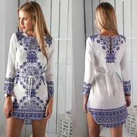 onen F10444A 2016 ladies spring design fashion long sleeve dress print dress