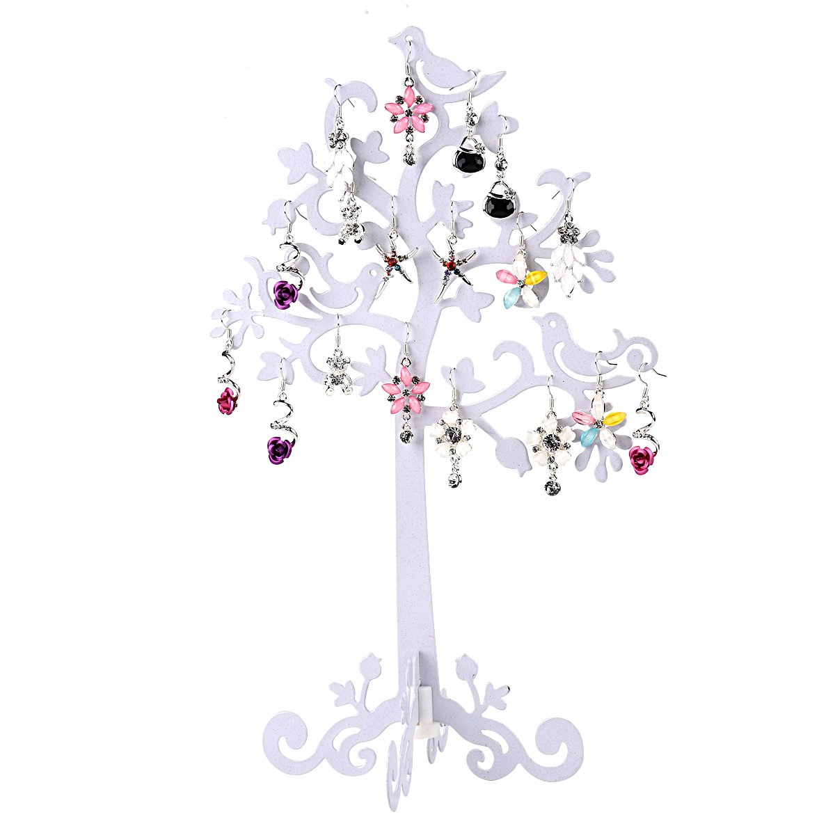 Jewelry Tree Display by Sky Piea, Metal Jewelry Stand Organizer Holder for Earrings, Bracelets, Necklaces (White)