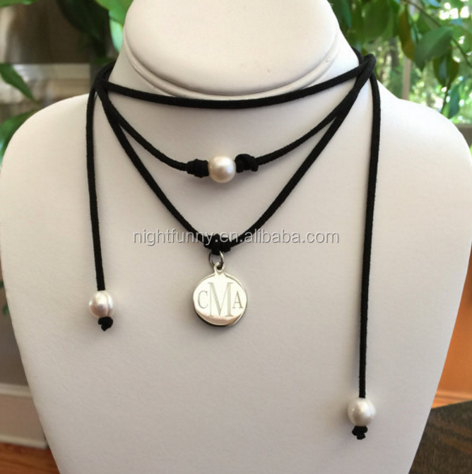 Leather Wrap Choker Necklace, Monogram Leather and Pearl Wrap Necklace, Leather Pearl Choker