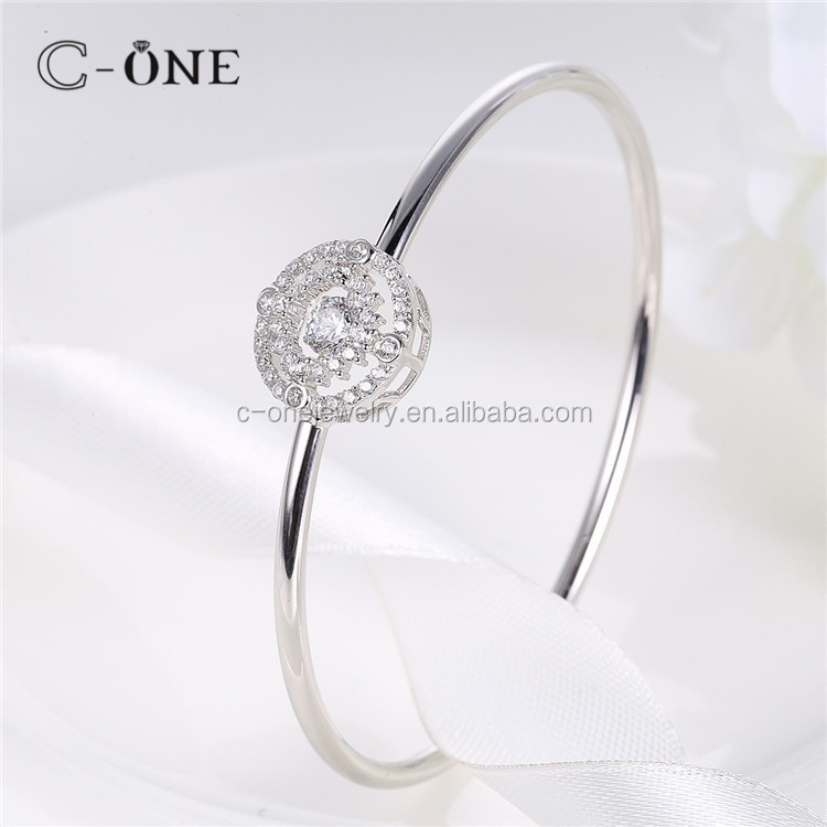 Handmade Dancing Diamond Stone Bangle Bracelet, Silver Wire White Dancing Stone Bangle Bracelets