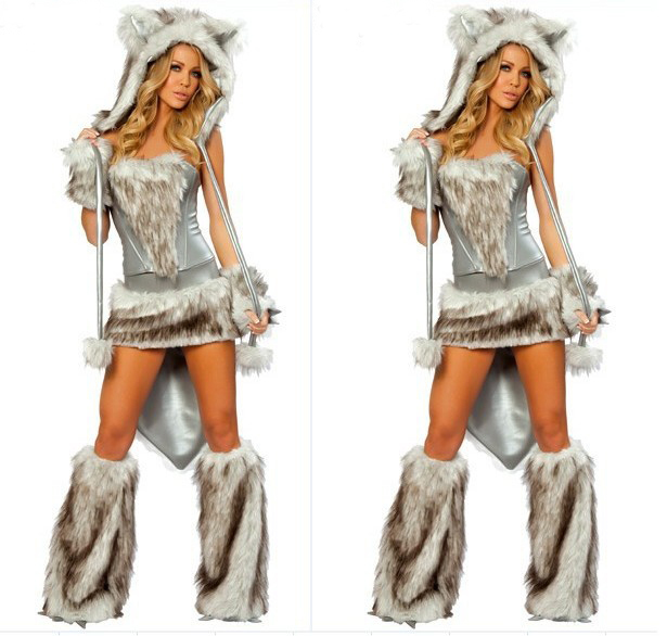 New With High Quality Leather Fur Women Dress Sexy Wolf Cosplay Girl Halloween Animal Costumes Masquerade Bear Costumes HC0015
