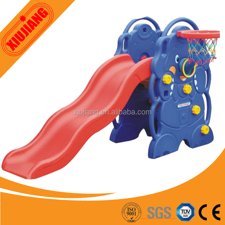Indoor playground/Elephant design kids plastic slide with hoop