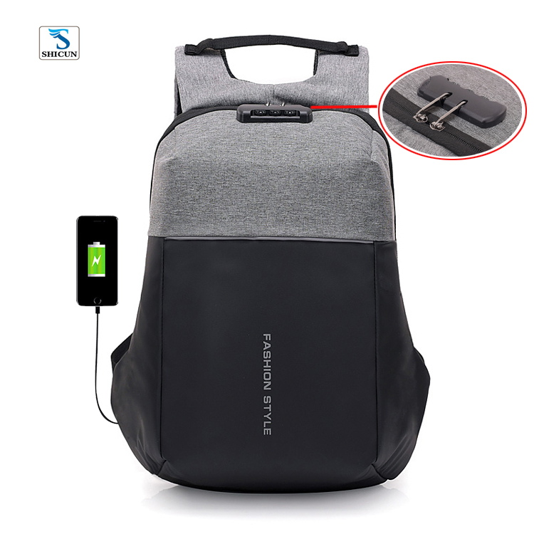 grey black blue school boys and girls front reflection nylon oxford fabric antitheft back pack bag with back charging usb port