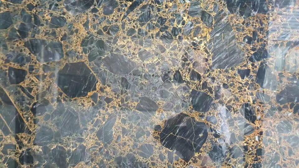 Fornitore della cina italia marmo nero con oro vena pavimento di