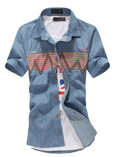 2015 New Fashion Summer Style Men Shirt Denim Shirts Stripe Plaid Shirts Men Short Sleeve Camisa Masculina