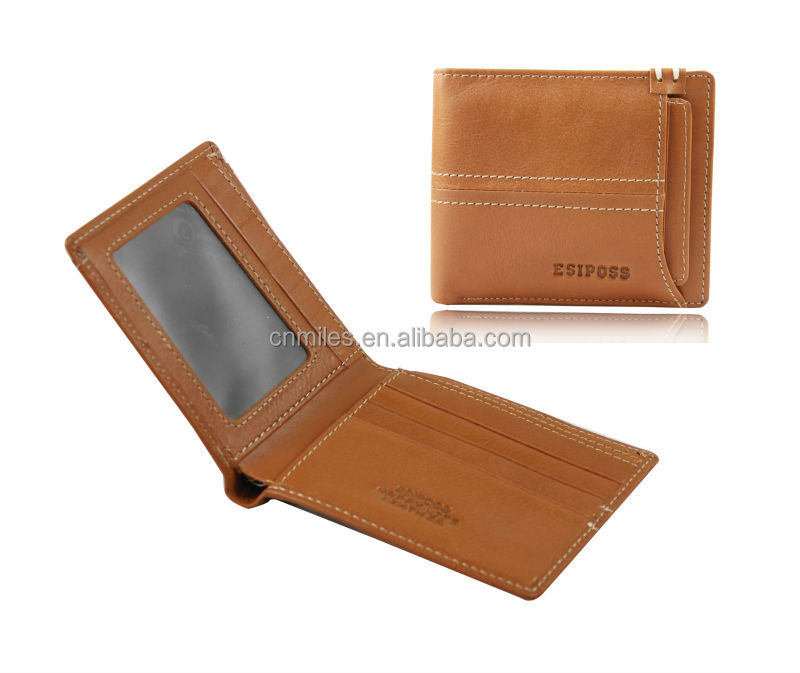 Factory price customized tan men real genuine leather wallet