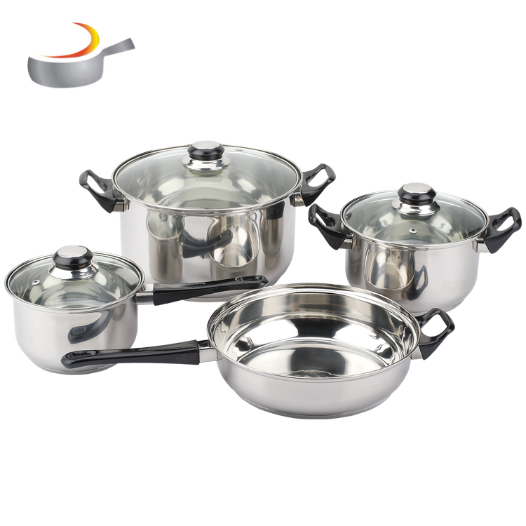 Stainless Steel Mirror polish Cookware Sets 12 Pieces Cookware Pots And Pans Set With C shape clear glass lid