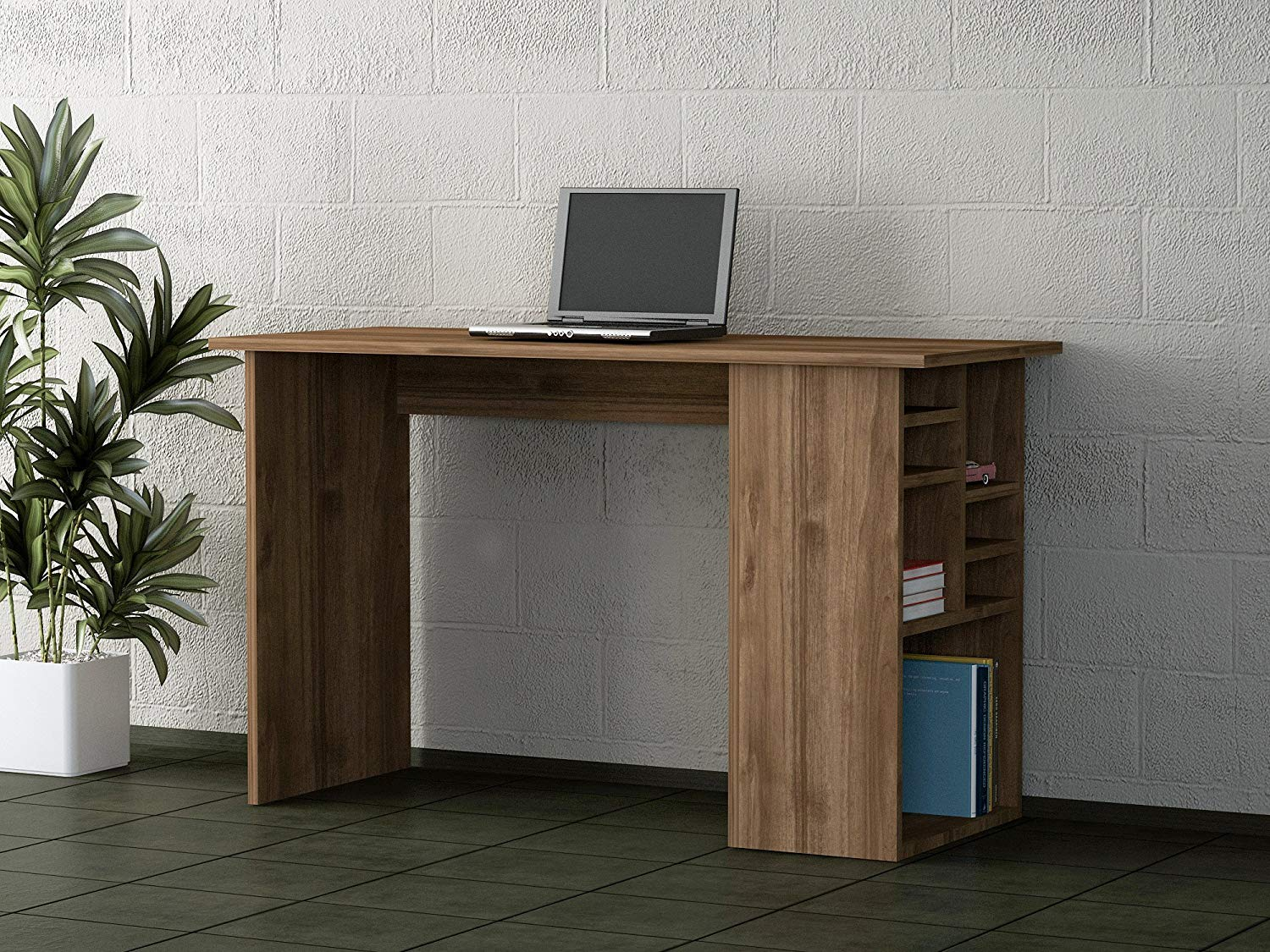 Writing Computer Desk Modern & Simple Dark Brown Simple Useful Functional Modern Stylish Study Desk Industrial Style Study & Laptop Table Home, Office, Living Room, Study Room Walnut