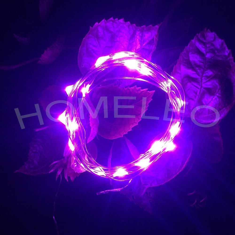 Get Quotations · Homeleo 3 Meters 30 LED AA Battery Operated Purple LED Silver Wire String Light Flexible Mini & Cheap Led Tent Light String find Led Tent Light String deals on ...
