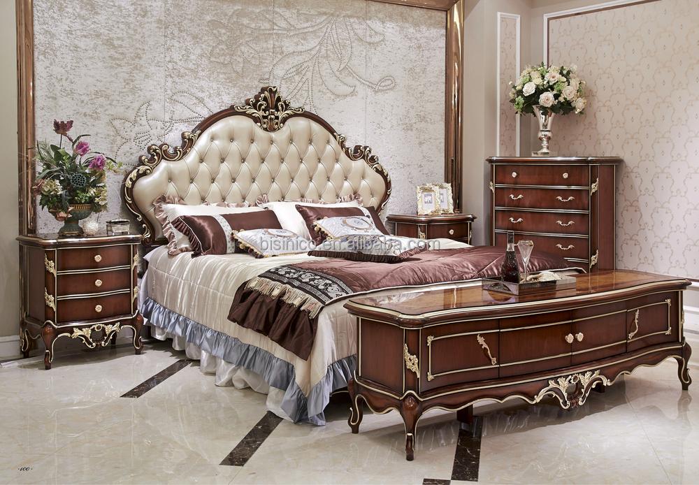 Italian Wood Bedroom Furniture Set, Luxury Royal Bed Room ...