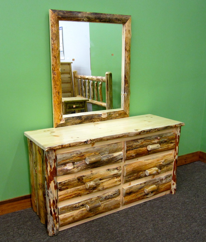 Midwest Log Furniture - Rustic Log Dresser with Mirror - 6 Drawer