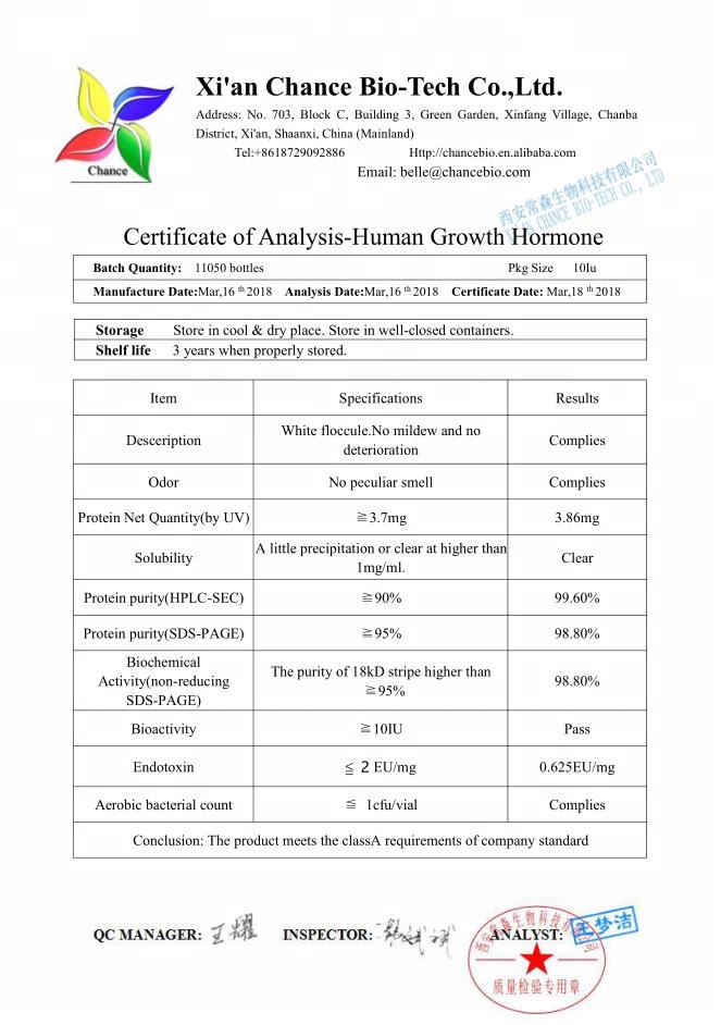 هرمون النمو البشري hgh 10iu HGH 191AA لكمال الأجسام HGH