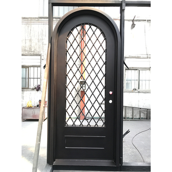 Arch Top Entrance Security Steel Door House Wrought Iron Front