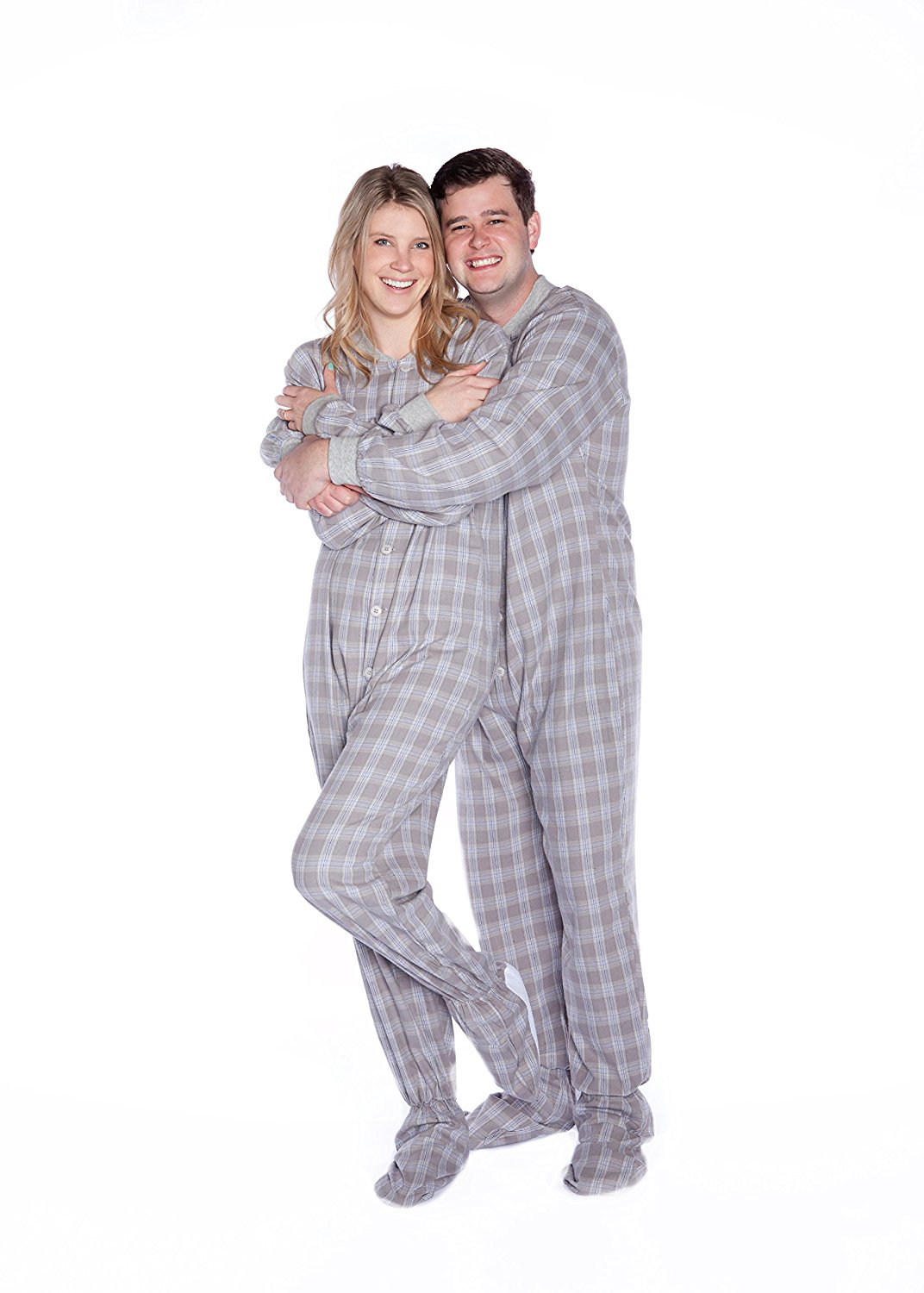 7ec2141d3d Grey   White Plaid Flannel Adult Footed Pajamas Drop Seat Footed