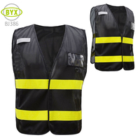Wholesale mens mesh fabric reflective safety vest black