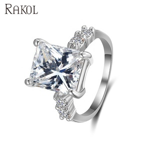 RAKOL Luxury Jewelry Rectangle Zircon Diamond Ring Shining Jewelry Decoration R173