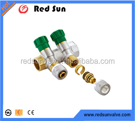 Redsun high quality DN20 -DN25 Brass forged Manifold Nickle Plated 4 Ways of Yuhuan manufacture
