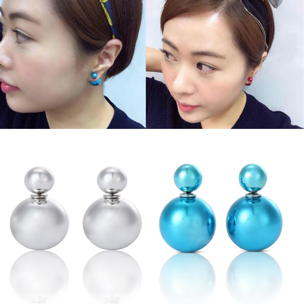Get Quotations · 1pair 6 Colors Pearl Earrings Economic Double Side Pearl  Stud Earrings For Women Girls Gift Big