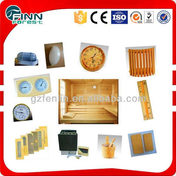 Different wooden sauna accessories for far infrared sauna room