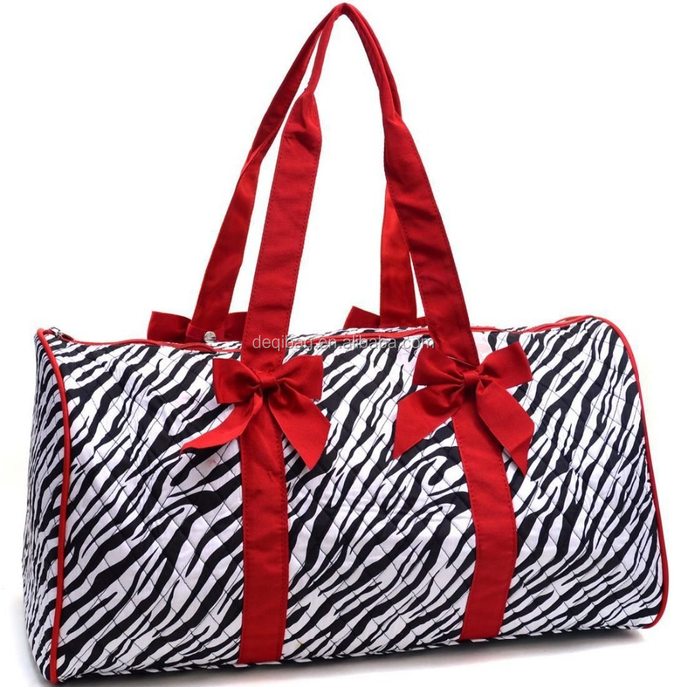 bcef07b45f0d Large Quilted Duffle Bag With Bow In Zebra Print Red Trim - Buy ...