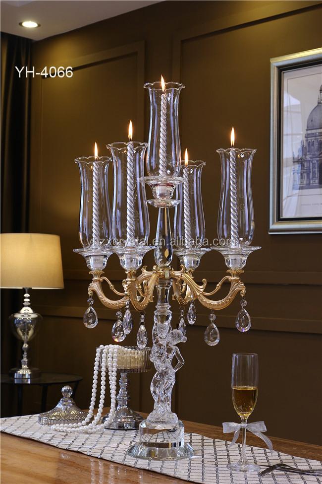 Nueva moda 5 cabeza clara esmalte 5 sostenedor de vela de - Cristales para mesa ...