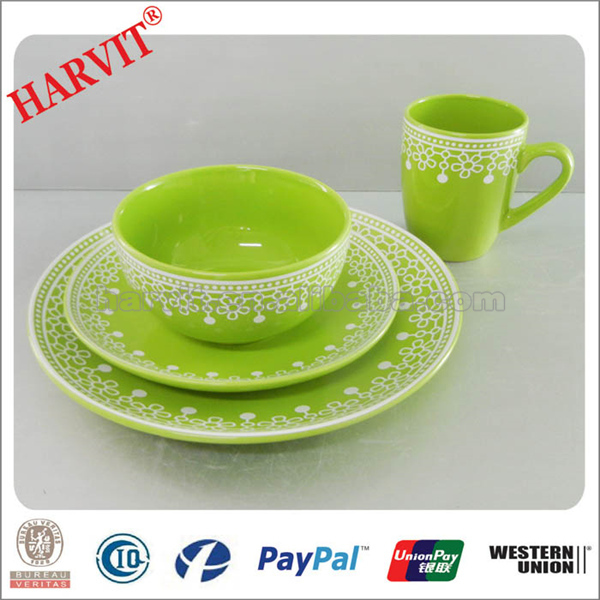 Wholesale 16pcs Stoneware Dinnerware set with Christmas Decoration Blue/Yellow/Red Colorful mexican  sc 1 st  Changsha Harvit Ceramic Co. Ltd. - Alibaba & Wholesale 16pcs Stoneware Dinnerware set with Christmas Decoration ...