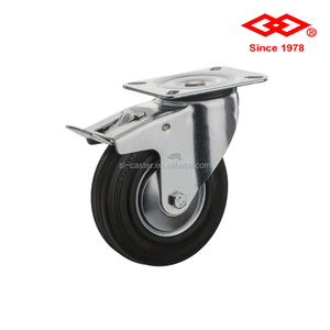 8 inch industrial black rubber swivel brake caster