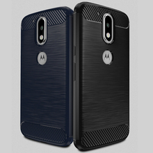 Carbon Fiber Brush Phone Case TPU Bumper Cover Case For Moto G4 Plus