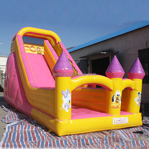 Backyard party mini baby inflatable slide, cheap small pink slide