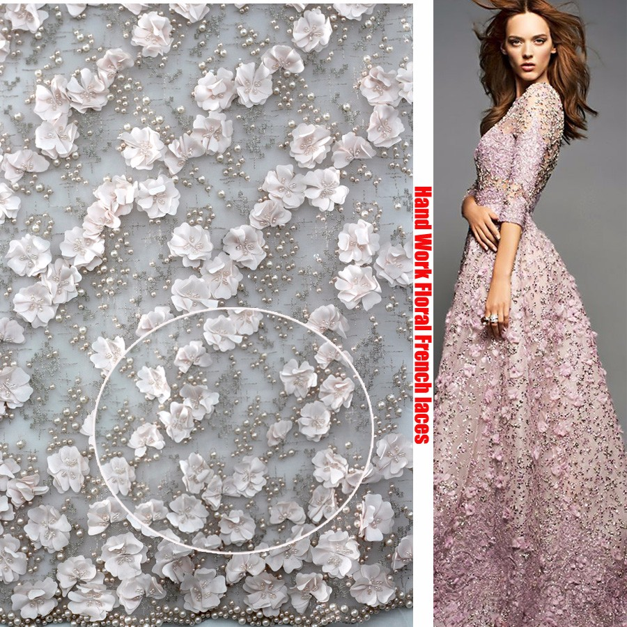 Dubai french lace fabric 3d flower lace fabric dress for French lace fabric for wedding dresses