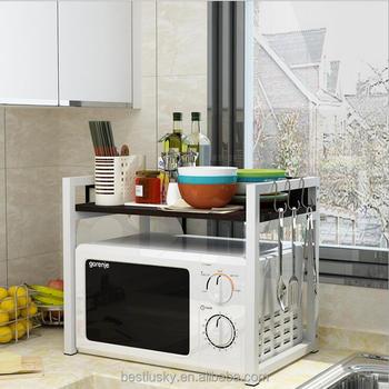 New Design Kitchen Furniture Wooden Microwave Storage Shelf With Metal Frame Buy Wooden Microwave Storage Shelf Wooden Kitchen Microwave Storage