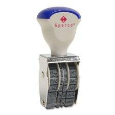 "Sparco Products Products - Date Stamper, 4 Bands, Size No. 2, Imprint 1-1/4""x1/4"" - Sold as 1 EA - Five-year date stamp offers nickel-plated steel frame and unbreakable wheels. Endless rubber bands with deep-face characters make perfect impressions."