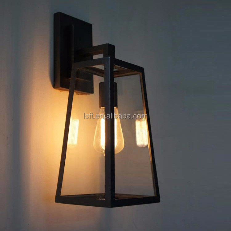 Outdoor Glass Trapezoid Lampshade Wall Sconce With Vintage Edison ...
