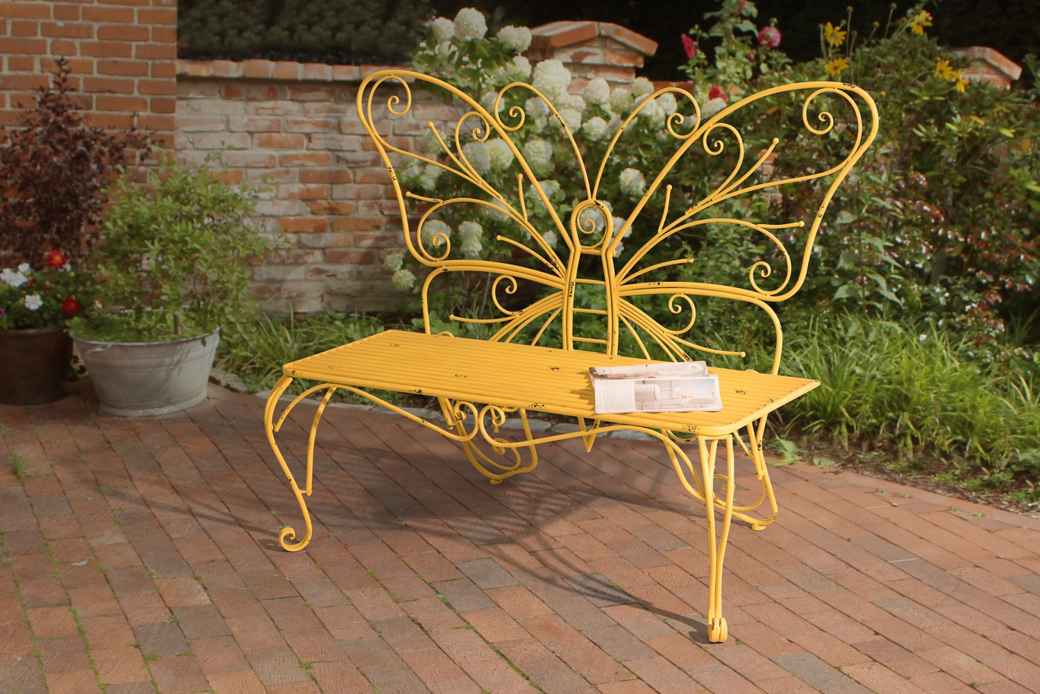 Get Quotations · Sunjoy Butterfly Bench Made Of Iron, Yellow