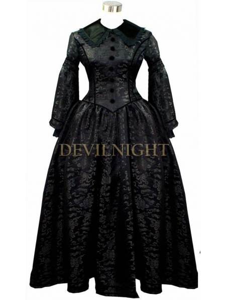 f44a902b1fe Get Quotations · Black Vintage Long Sleeves Gothic Victorian Dress Black  Victorian Dresses