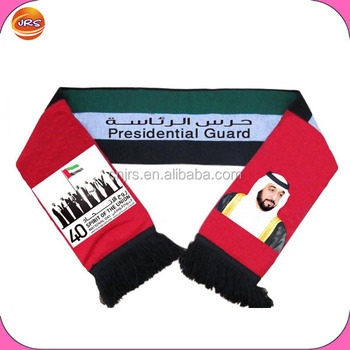 Long Style Uae National Day Scarf Acrylic Knit Scarf With Printing ...
