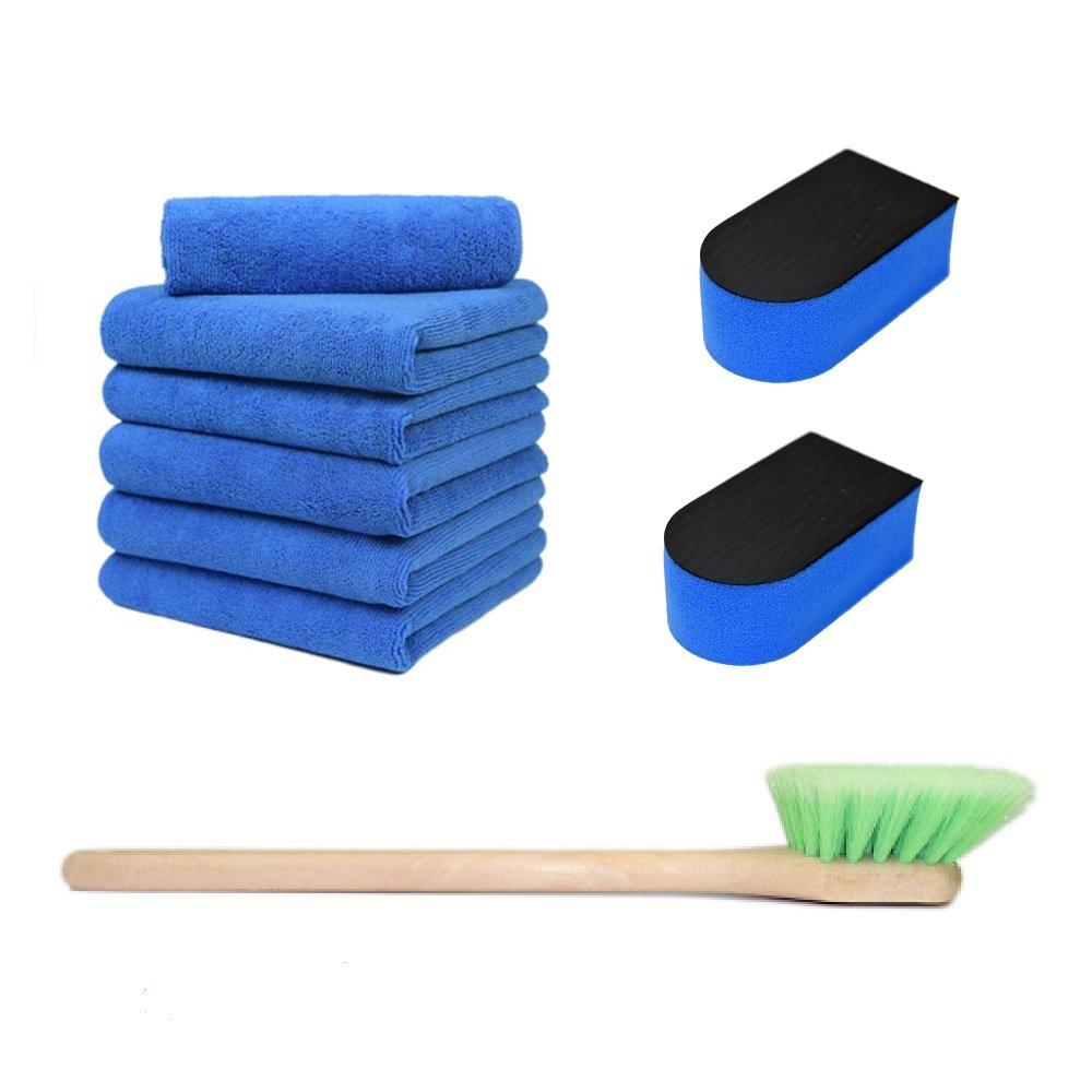 CarCarez Car Care Cleaning Kits Include 6 Pcs Professional Grade Premium Microfiber Towel, 2 Pcs AutoScrub Fine Grade Sponge and 1 Pcs 18 Inch Car Wash Brush