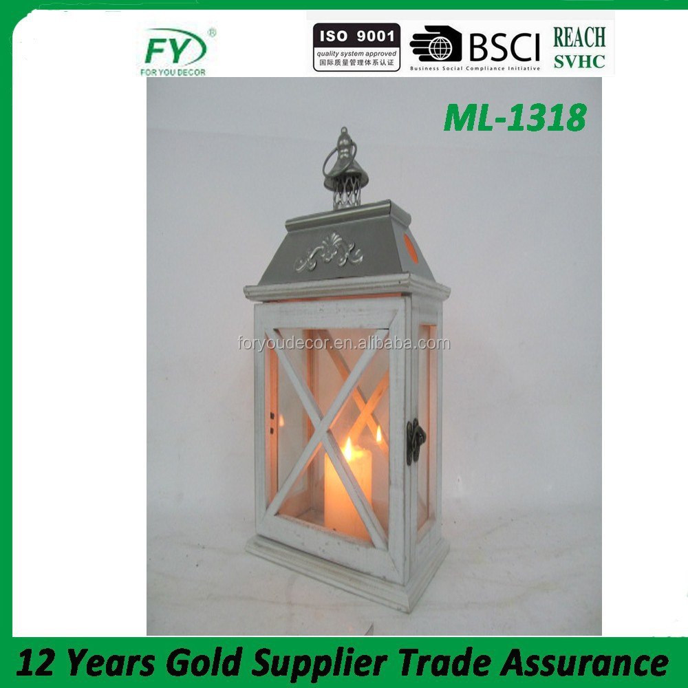 Art Wood Lantern With Flower Pattern Metal Top For Candles Outdoor ...