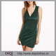 2017 Latest styles guangdong clothes supplier wholesale women casual Green Deep V Neck Overlap Front Striped Velvet Dress