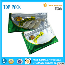 Customized print soft zipper aluminum foil clear window plastic fishing lure fish worm packaging bags bass pro shop