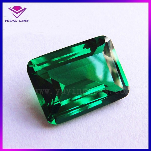 Wholesale Top Quality Emerald Cut Green Crystal Faceted Glass Gems