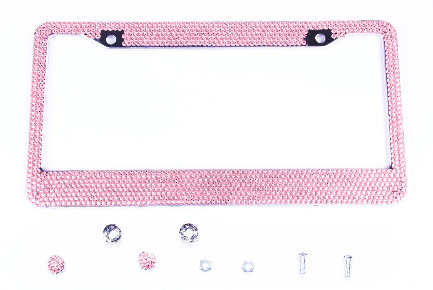 License Plate Frame Pink License Plate Frame 2 Pcs 4 Holes Matte Aluminum Frame with Chrome Screw Caps for US Vehicles,Unique Gift for Women Girls YOU
