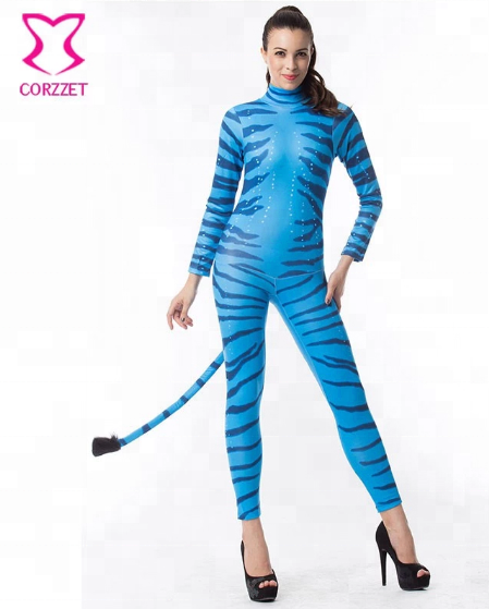Corzzet Blue Avatar For Adult Women Halloween Costume Zipper Catsuit with Tail Masquerade Party Performance Dance Animal Costume
