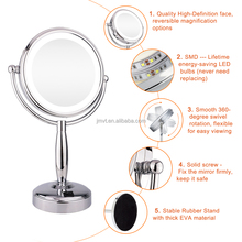 7X magnifying japanese style silver standing compact mirror with led light decorative mirrors