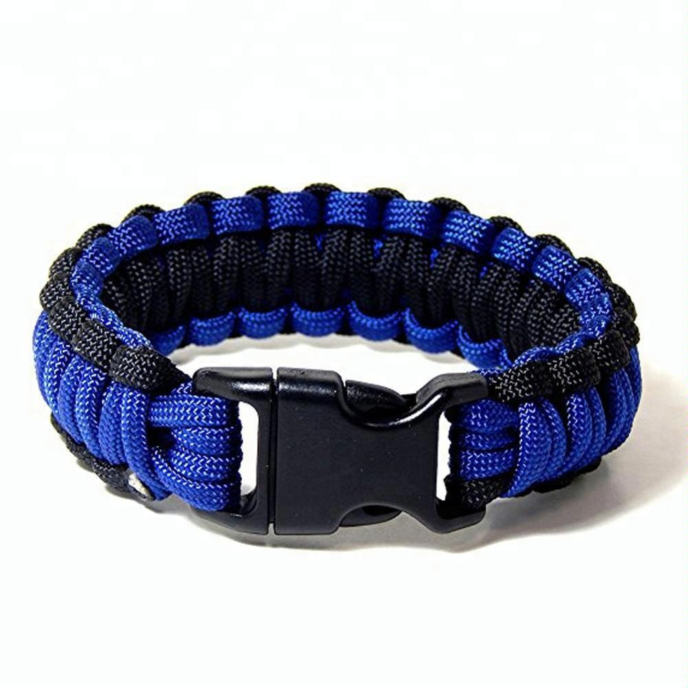 Police thin Blue Line Paracord Bracelet*skull*law Enforcement Fine Workmanship Arts,crafts & Sewing