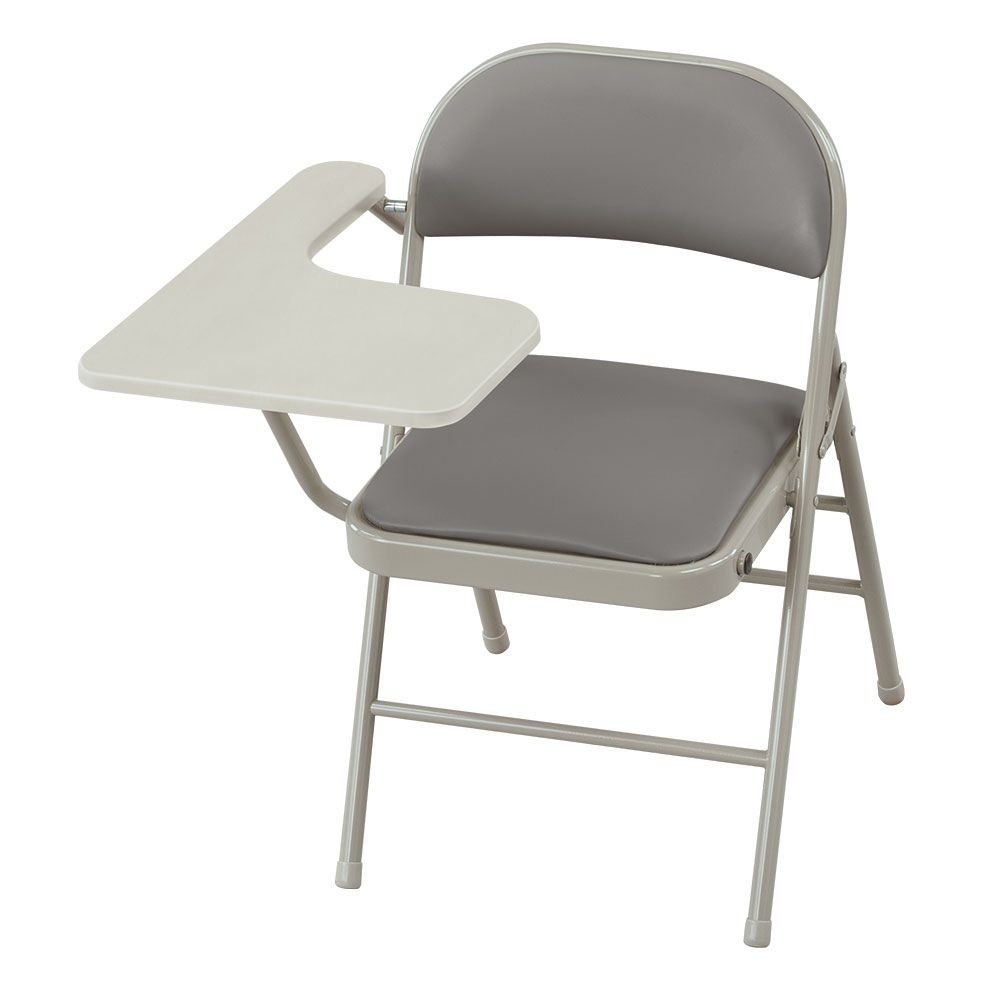"Set of 2 Polyurethane Steel Folding Chair with Tablet Arm Gray Polyurethane/Gray Metal Frame/Light Gray Laminate Tablet Dimensions: 21.65""W x 29""D x 29.5""H Seat Dimensions: 15.875""Wx15.875""Dx18""H"